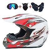 OUYA Motorradhelm Mountainbike-Helm Mit Winddichter Brille, Hut Und Handschuhen Für Bike Scooter Moped ATV (S, M, L, XL),D,M