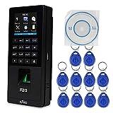 KDL Biometrisch Fingerabdruckerkennung RFID Access Controller Zeiterfassungsmaschine Mitarbeiter Check-in Payroll Recorder TCP/IP,10pcs 125KHz Schlüsselanhänger
