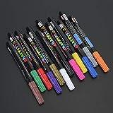 12 Farbbürstenmarker, mehrfarbig, Geschenk für Schüler für Keramik, Kunststoff, Stoff, Holz, Metall,