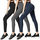 Damen-Leggings, nicht durchsichtig, hohe Taille, Bauch-weg-Effekt, Yogahose, Trainings- und Lauf-Leggings, 3er-Packung - - S/M