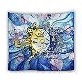 Psychedelische Tarot Karte Sonne Mond Wandteppich Dekoration Wohnzimmer Schlafzimmer Wand Hintergrund Retro Wandtuch Tapisserie A2 130x150cm