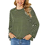 Ncenglings Damen T-Shirt Herbst Kleidung Verkaufsfreigabe Streifen Hemd Sexy Rundhals Oberteile Mode Sport Tunika Beiläufig Farbblock Blusen Langarm Hemd Schöne Pailletten Tops Lose Sweatshirts