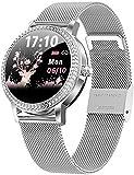 Smartwatch für Frauen Fitness Tracker Bluetooth Schrittzähler Sportuhr Frauen Stahl Uhren IP68 Wasserdicht Armband Herzfrequenz Geschenk für Liebhaber Silber-Silber
