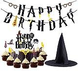 Kreatwow Harry Potter Party Supplies Geburtstag Banner Cupcake Toppers Zauberer Hut Cake Topper für Geburtstag Dekorationen