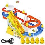 Spielzeugfiguren zum Selbermachen, Rennstrecke, Auto, elektrische Musik, Klettertreppe, Kinderspielzeug, Lernspielzeug, Eisenbahn, Doppeltreppe 5 Enten