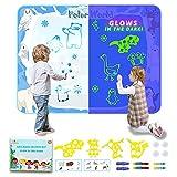 Wasser Doodle Matte, 120cm*90cm Barley Direct Wasser Magie Zeichenblock Set, Wasser doodle Matte leuchtet im Dunkeln, Painting Geschenk Spielzeug für Jungen & Mädchen im Alter von 3-12 Jahren