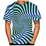 Qier Tshirt Herren Grafische Kurzarm-Oberteile, Baumwoll-T-Shirt, 3D-Farb-Spin-Print-T-Shirts, Blau, L.