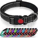 Taglory Hundehalsband, Weich Gepolstertes Neopren Nylon Hunde Halsband für Kleine Hunde, Verstellbare und Reflektierend für das Training, Schw