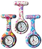 Boolavard® TM 3pcs Blumen-Silikon-Krankenschwester-Uhr-Arzt Sanitäter Tunika Brosche Fob medizinische Uhr, 3-er Pack