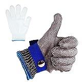 JHD Blauer roter, schnittfester, stichfester Edelstahl-Metzgerhandschuh aus Edelstahl mit hoher Leistung, Schutzstufe 5