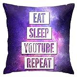 Eat Sleep Youtube Repeat Dekokissenbezug, 45,7 x 45,7 cm