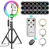 """Selfie Ringlicht mit Stativständer, Elekin 13"""" RGB Ringleuchte mit 3 Farbe und 12 Helligkeitsstufen, Tischringlicht mit Bluetooth Fernbedienung für YouTube Tiktok Make-up Live-Stream Fotografie"""