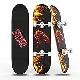 Skateboards für Anfänger, 31 'x 8' komplettes Skateboard mit ABEC-7 Lager und 95A Rad, 8 Schicht Hard Maple Deck für Teenager und Erwachsene,Double Kick Deck Concave Cruiser Trick Wolf Skateboard