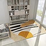 SunYe Moderner Minimalistischer Wohnzimmerteppich Geometrisches Muster Schlafzimmerbettmatten Verdickte Doppelschichtige Bürofußmatten Haustier Teppiche, rutschfeste Türmatten