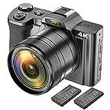 4K Digitalkamera Videokamera Camcorder Ultra HD 48MP WiFi YouTube Vlogging Kamera mit Weitwinkelobjektiv 3,5-Zoll-IPS Touchscreen Kamerarecorder 16-facher Digitalzoom, 2 Akk