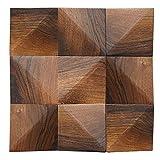 liu Holzwand Mosaik Braun Holzfliesen Massive Eiche Holz Geklebt Anwendung für zu Hause Wohnzimmer Schlafzimmer Innen- und TV-Hintergrund-30cmX30cm,Darkw