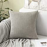 MIULEE 1 Stück Kordsamt Soft Solid Dekorative Quadrat Wurf Kissenbezüge Set Kissen Fall für Sofa Schlafzimmer 18 x 18inch 45 x 45 cm Hellgrau
