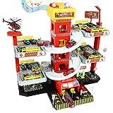 Fajiabao Feuerwehrstation Parkgarage für Kinder Parkhaus Feuerwehr Spielzeug Autogarage mit 4 Feuerwehrauto 8 Auto Spielzeug 1 Helikopter Weihnachten Geschenk für Jungen Mädchen ab 3 4 5 6 Jahren