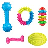 Comius Spielzeug für Welpen, 4 Pcs Pet Molar Spielzeug Einstellen aus Naturkautschuk Zahnreinigung mit Zahnpflege-Funktion für Welpen
