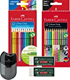 Faber-Castell Buntstift Sonderfarbset, Colour Grip (Komplett Set) 12 Etui Standardfarben, 12er Etui Sonderfarben, Spitzdose und 2 Radierer