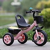 YEXINTMF Balance Auto Little Trike Kinder Dreirad Gummi Luftgefüllte Räder Stahlrahmen Halter Einstellbarer Stuhl Dreirad Kleinkind Fahrrad for 2-6 Jahre alte Kinder (Color : Pink)