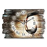 Kreative Feder Wein Landhaus Shabby Style Designer Wanduhr Funkuhr aus Holz *Made in Germany leise ohne Ticken WH011FL 40x27cm (leises Funkuhrwerk)