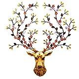LYTBJ Deer Head Wandbehang Skulptur, Wanddekoration Statue Deer Bust Wandmöbel Sika Deer Farbe Wandschmuck, 60 * 70
