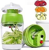 Hand-Spiralschneider Gemüseschneider und Reibe Gemüseschneider Zerkleinerer mit Behälter für Karotte, Gurke, Zucchini, Zwiebeln, Spaghetti
