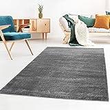 Taracarpet Kurzflor-Designer Uni Teppich extra weich fürs Wohnzimmer, Schlafzimmer, Esszimmer oder Kinderzimmer Gala dunkel-grau 140x200 cm