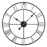 DLILI 60cm Jumbo Wanduhr Vintage Wanduhr Silent Metal Clock Dekorative Wanduhren für Wohnzimmer, Büro, Küche, Schlafzimmer, Bar
