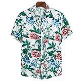 Qienjn Hemd Herren Sommer Casual Atmungsaktiv Strandshirt Trend Druck Knopfleiste Revers Herren Kurzarm Lose Komfortabel Mode Hawaii Hemd CS131 XL
