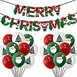 PJHFHU Weihnachtspapier Banner Ballon Set Rot Grün Weiß 12 Zoll Weihnachten Einkaufszentrum Home Hotel Dekoration Ballon Santa Claus Weihnachtsbaum Ballons (Color : Set 1)