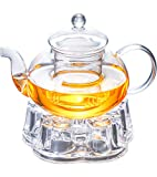 IwaiLoft Glas-Teekanne mit Teesieb, herdofensicher Teekessel, Blüten- und lose Teeblätter, Set IW-G018 (598 ml, Maru-Teekanne mit Stövchen)