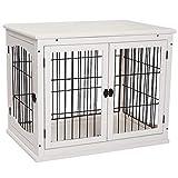 Pawhut Hundehütte mit Tischoberfläche, Hundebox für innen, Hundekäfig für Zuhause, 2 Türen, Tierkäfig, Haustier, MDF, Metall, Weiß, 81 x 58,5 x 66