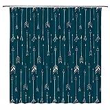 Arrow Duschvorhang Weiß Vertikal Pfeil Retro Tribal Bohe Muster Blaugrün Hintergrund Polyester Stoff Send Haken Geeignet für Badezimmer Dekoration