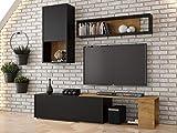 KRYSPOL Wohnwand KEKS Anbauwand, Wohnzimmer-Set, Wohnzimmerschrank, Modern Design (Schwarz Matt + Eiche Kraft Gold)