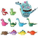 HENTEK 50 Set Dinosaurier Cupcake Wrapper Toppers Papier Dino Verpackung Beidseitig Kuchen Dekorationen Kuchendeckel für Kinder Jungen Party Geburtstag Deko Muffin Back