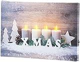 infactory LED Bild: Wandbild Kerzen im Schnee mit LED-Beleuchtung, 30 x 20 cm (Wandbild Weihnachten)