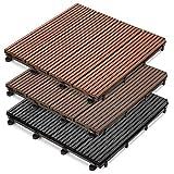 casa pura® WPC Terrassenfliesen Prestige | klick Fliese in Holz Optik | einzeln oder im Set | 30x30 cm | Dunkelbraun (22 Stück / 2 m²)