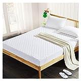 QIANGU Bedding Premium Spannbettlaken, bequem, weich, rutschfest, wasserdicht, gesteppt, atmungsaktiv, weiß, Hotels (Größe: 180 x 200 cm)