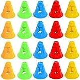MOPOIN Markierungskegel, 20 Stücke Pylonen Kinder Trainingshütchen Verkehrskegel Leitkegel Multifunktionskegel für Kinder Fußball Sport