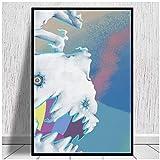 Wandgemälde im Murakami-Stil, Kinder sehen Geister Leinwanddrucke Leinwandmalerei Poster Modernes Familienzimmer Wohnzimmer Dekoration-60X80Cmx1 Kein Rahmen