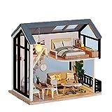 AMZYY Puppenhaus mit Möbel Bastelsets für Erwachsene, Realistische Mini 3D Holzhaus Zimmer Handwerk,1