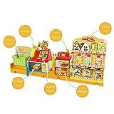GAOXIAOMEI Kasse Kinder Rollenspiel Supermarkt Spielzeug Kaufladen Kaufmannsladen Zubehör Registrierkasse Supermarktkasse mit Geld,Lebensmittel, für Kinder Mädchen ab 3Jahren