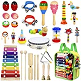 AILUKI 27 Stück Musikinstrumente Musical Instruments Set, Holz Percussion Set Schlagzeug Schlagwerk Rhythm Toys Musik Kinderspielzeug für Kleinkinder