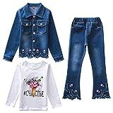 L PATTERN Kinder Mädchen 2tlg Jeans Anzug Bekleidungsset Zweiteiler Freizeitanzug Outfit-Set(Jeansjacke+Jeanshosen), 146-152