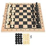 LFLF 3-in-1-holzspielzeug-schach-checkers Backgammon-Falten-tragbares Interaktives Schachbrett-toym 29 X 29cm / 11,4 X 11.4in
