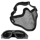 MOPOIN Paintball Maske, Airsoft Masken Softair Maske Mesh-Maske mit Softair Schutzbrille Taktische Maske Paintball Schutzbrille üBerbrille Airsoft Mesh Maske