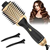TOGETOP 4 In 1 Haartrockner Warmluftbürste, Ionen Föhnbürste Volumen- und Stylingbürste für alle Haartypen, Gold