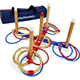 JAMK Ringwurfspiel Holz Party Spiele-Deluxe Ring Toss Game -Throwing Quoits Game with Carry Bag